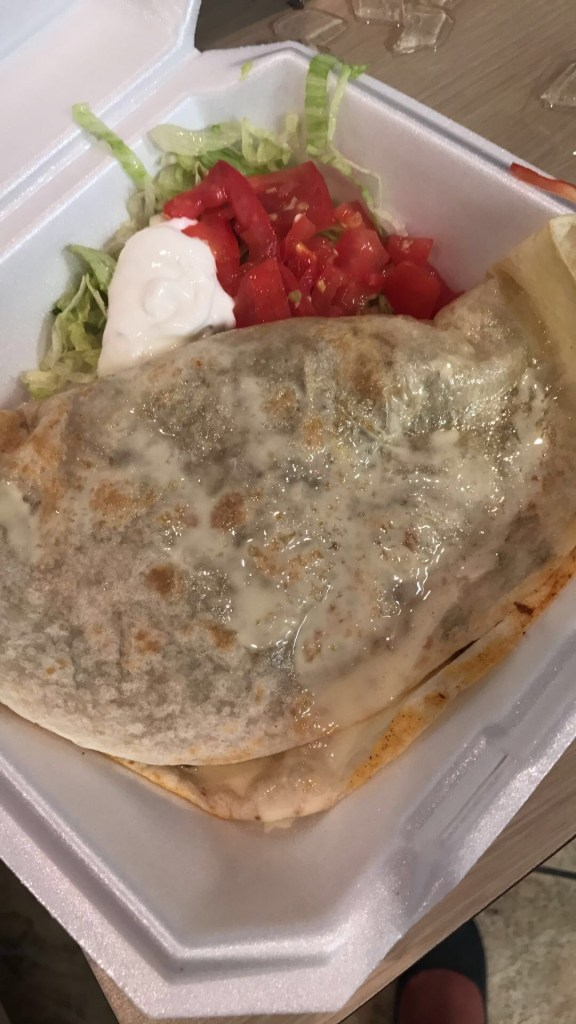 My go to steak quesadilla with white queso.