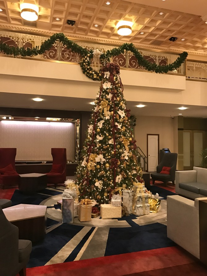 The Christmas tree at my cousin's hotel. He had nice digs.