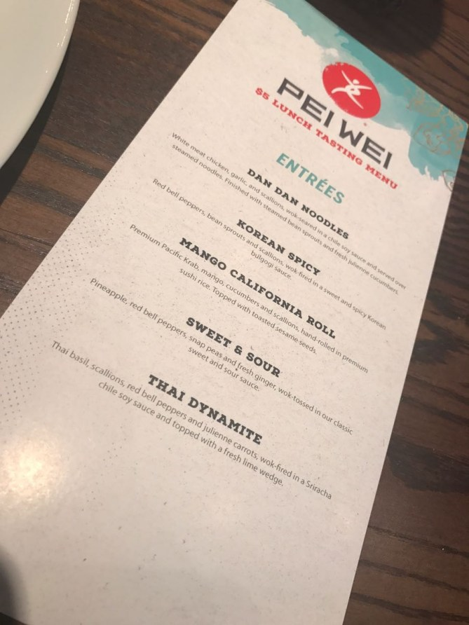 IPei Wei $5 Lunch Menu-Menu