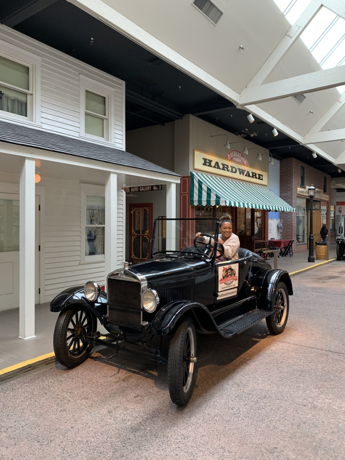 Riding in an old car at National Automobile Museum