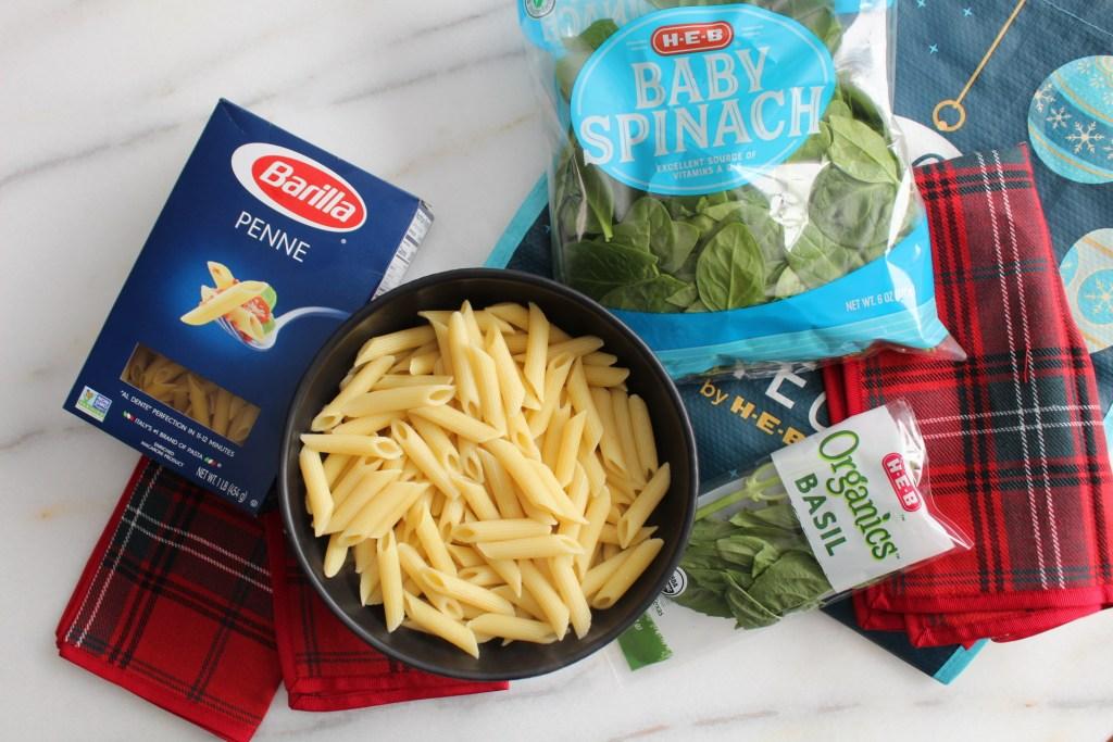 Bowl of Pasta, Basil, Box of Pasta, Bag of Spinach