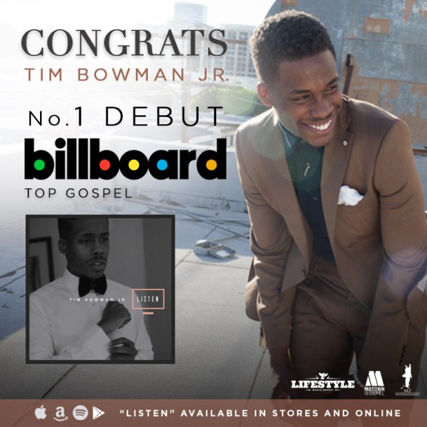 Congrats TIM BOWMAN JR. on the No. 1 Debut BILLBOARD Top Gospel Album