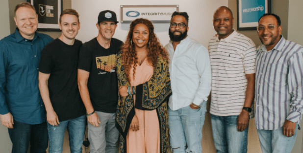 Tyscot Records, Integrity Music to collaborate on future worship albums including a new project from Atlanta-based worship leader, Casey J, due in January. Shown left-to-right: Greg Bays, Cole Flynn and Mike Murray of Integrity Music flank Casey J and manager Roland Jack with Tyscot's Jeff Hargrove and Bryant Scott.