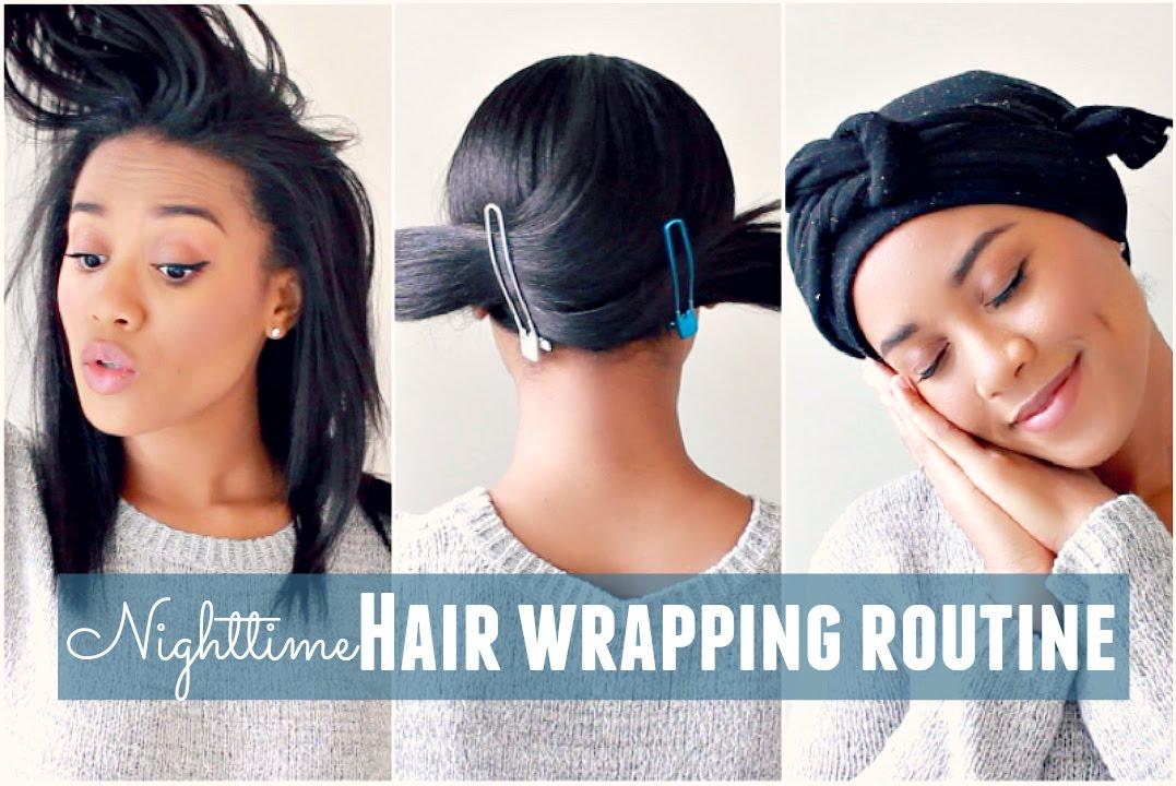 Nighttime Hair Wrapping Routine Video Black Hair