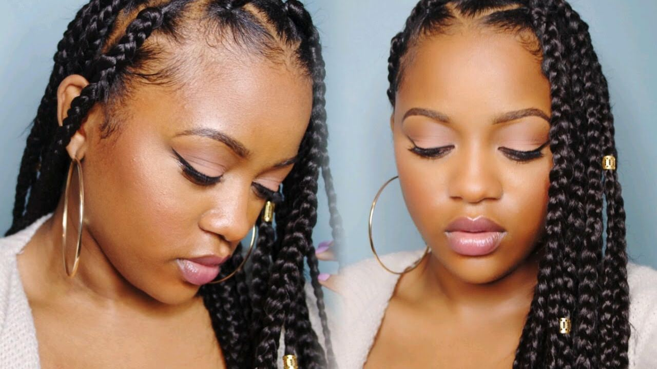 Easy Triangle Part Box Braids Rubberband Method Video