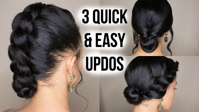 3 Quick  Easy  Updo  Hairstyles  on Straightened Natural