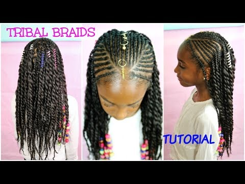 KIDS NATURAL HAIR STYLES TRIBAL BRAIDS Amp BEADS TUTORIAL