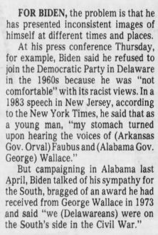 Newspaper clipping describing jOe Biden's admiration of George Wallacee
