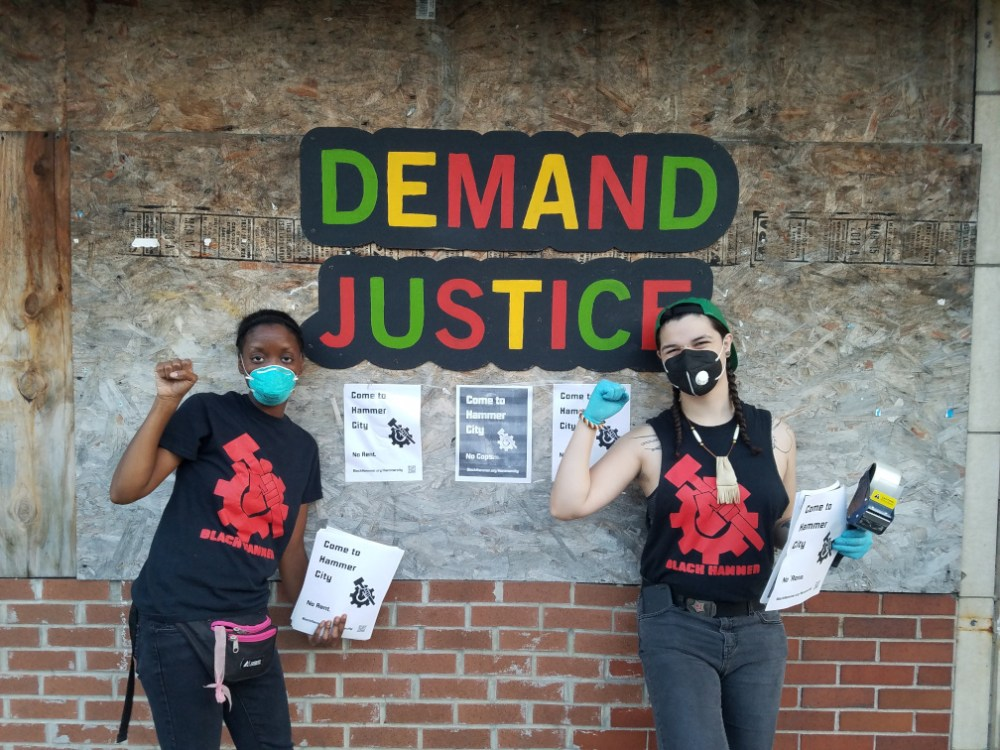 demand justice sign with hammer posters