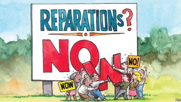 """Black woman holds the sign A cartoon of a sign that asks """"Reparations?"""" Below are the letters """"NO."""" A group of Black people hold one side of a W while a group of white people hold the other side of the W. A black woman holds the sign """"NOW"""" and a white woman holds the sign """"NO."""""""