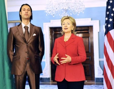 U.S. Secretary of State Hillary Clinton with Libyan National Security Adviser Mutassim Qadhafi.