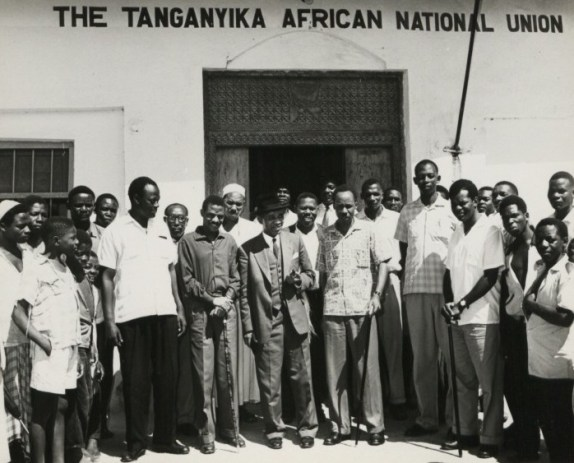 Julius Nyerere and Dr Hastings K. Banda Prime Minister then president of Malawi, visiting Tanganyika in the early 1960s. Outside a Tanganyikan African National Union office.