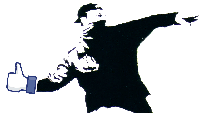 """Image of graffiti art by Banksy, of a man holding a """"like"""" button"""