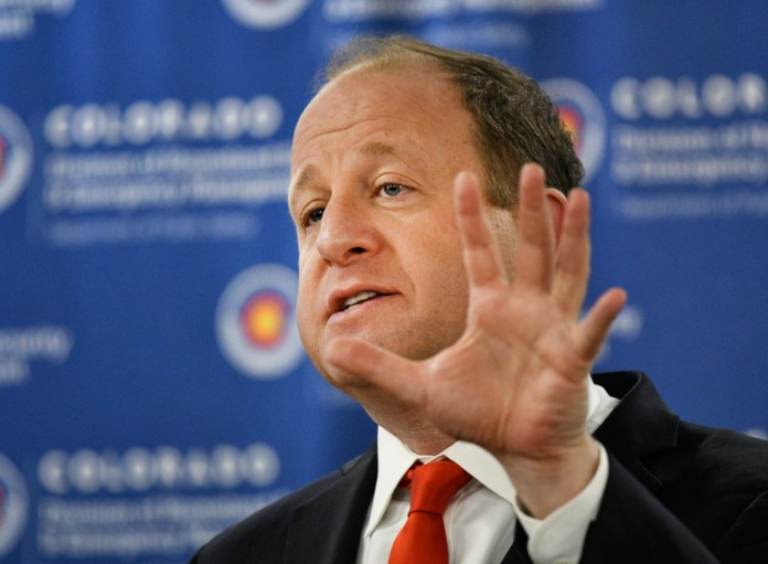COVID-19 CENTENNIAL, CO - MARCH 27: Colorado Governor Jared Polis during his press conference updating the state's response to the coronavirus outbreak at the Colorado State Emergency Operations Center March 27, 2020. (Photo by Andy Cross/The Denver Post)