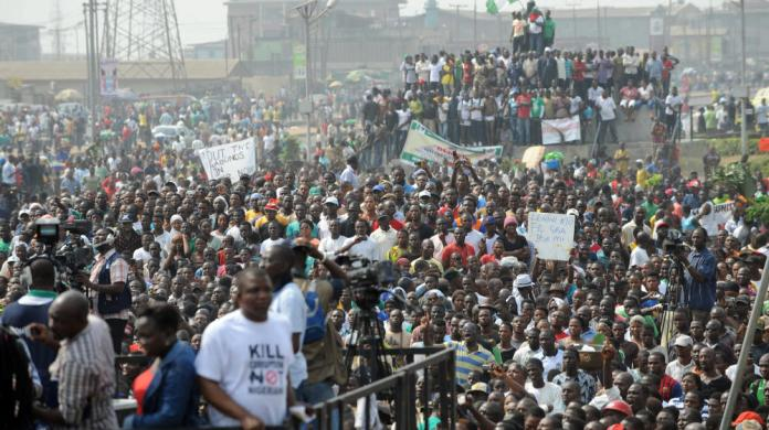 Protest in Lagos against oil subsidies, ultimately protesting neocolonialism in their country