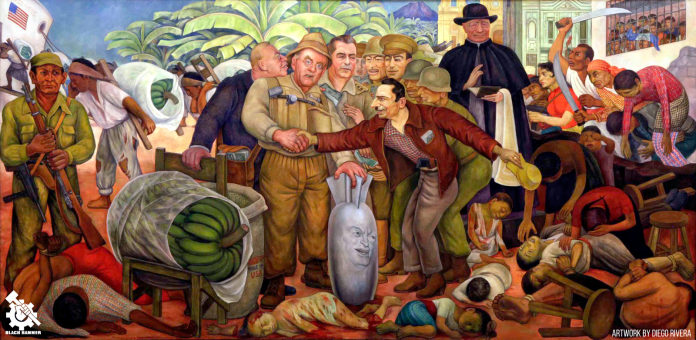 a painting depicting the u.s. colonization and destruction of Guatemala