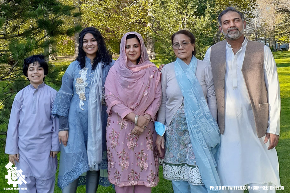 9 year old Fayez, 15 year old Yumna, mother Madiha 44, 46 year old Salman Afzal, and 74-year-old grandmother whos name was not given.