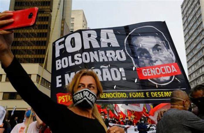 Colonized masses of Brazil protesting against bolsonaro, July 3rd [Nelson Antoine/AP]