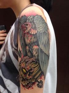 Blackwork Tattoo Vienna Wien Tattoostudio Oldschool traditional Tattoo vulture evil zombie dead