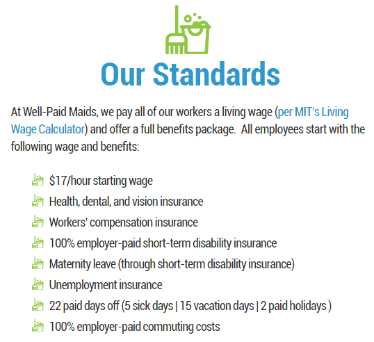 Well-Paid Maids standards (from www.wellpaidmaids.com/about)