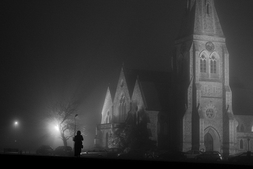 All Saint's Church, Blackheath, in the fog by Flickr user CaptainMcDan