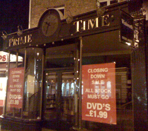 Prime Time DVD Shop Closing Down Sale Blackheath