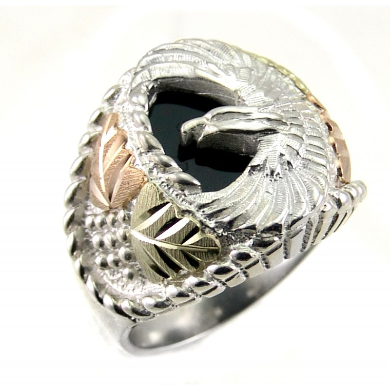 Black Hills Sterling Silver Mens Eagle Ring With 12k Gold