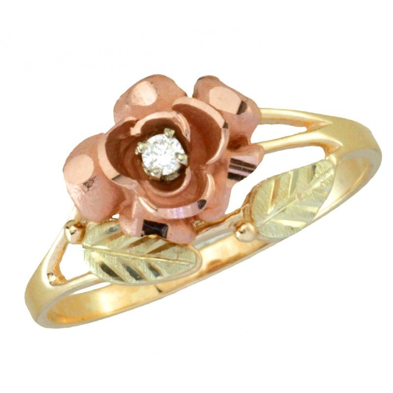 Coleman Black Hills Gold Diamond Rose Ring For Ladies