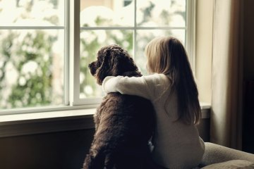 Girl and Dog Window