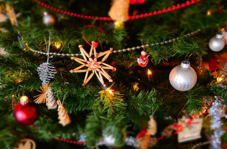 Close up Christmas Tree Ornaments