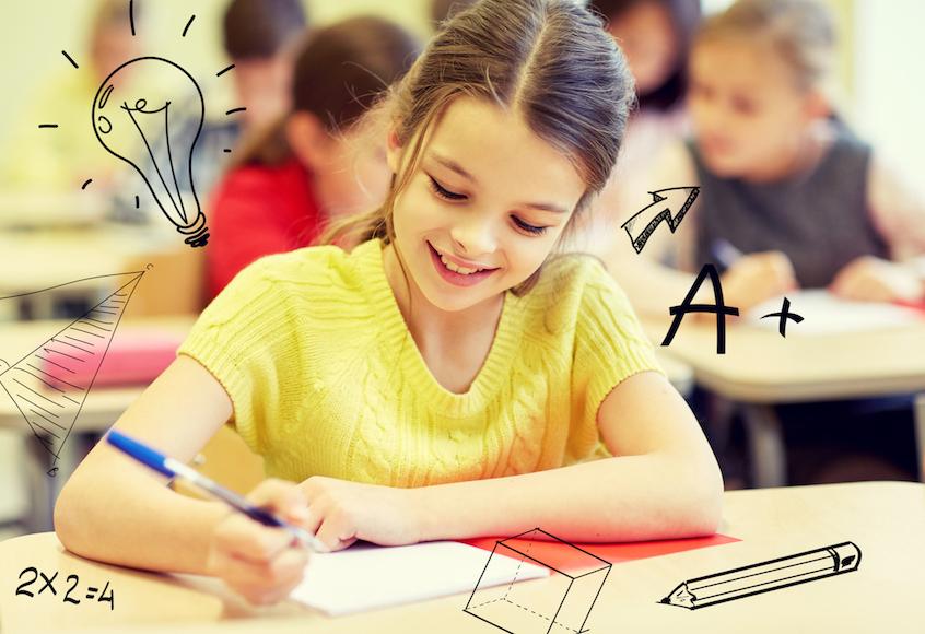 Girl with Homework- School Graphics