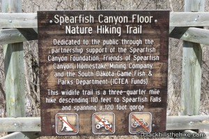 Spearfish Canyon Floor Sign