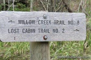 Willow Creek - Lost Cabin Trail Sign