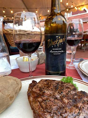 Steak with Blackjack Ranch Wine