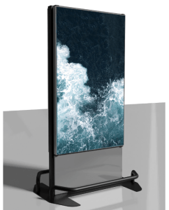freestanding digital signage screen indoors