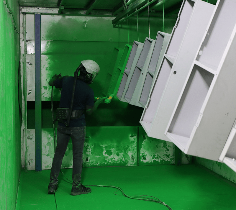 powder coating steel in green