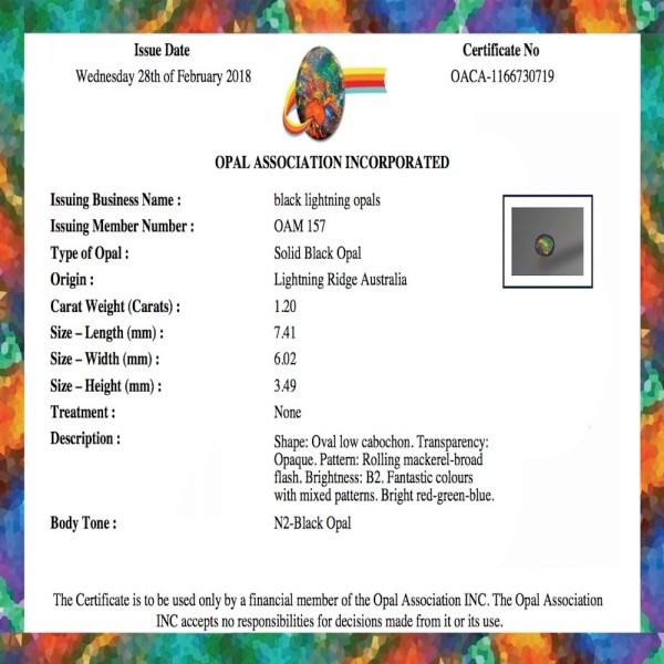 1.20 CT solid black opal certificate