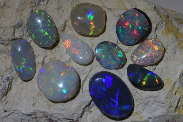 Different Opals from Lightning Ridge Australia