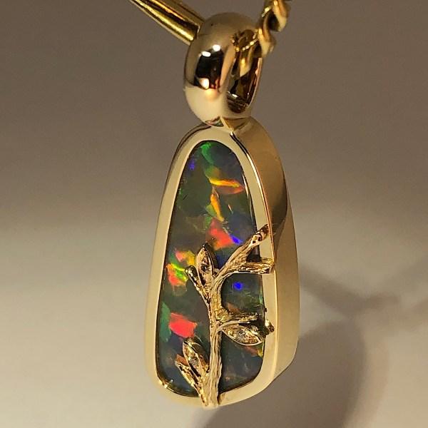 Australian hand made Opal jewellery with solid black opal from lightning ridge