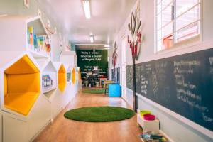 Sizwile school container conversion interior design by Backline Retail Interiors