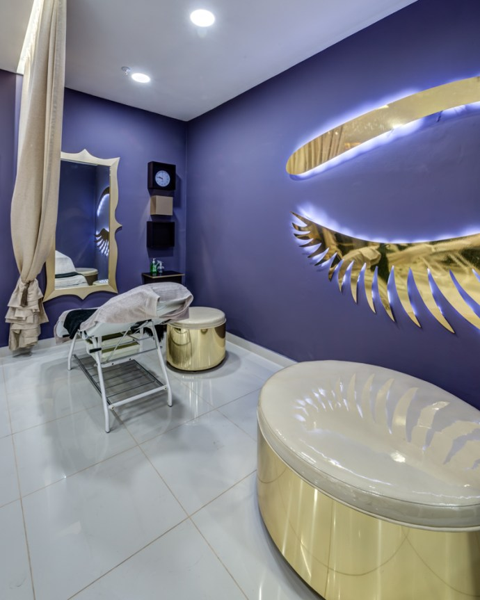 Brow bar salon interior design by Blackline retail interiors pantone colour of the year ultra violet purple retail design
