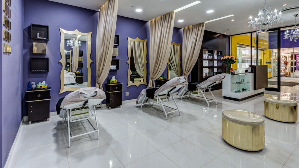 Brow bar salon interior design by Blackline retail interiors pantone colour of the year ultra violet purple retail interior design
