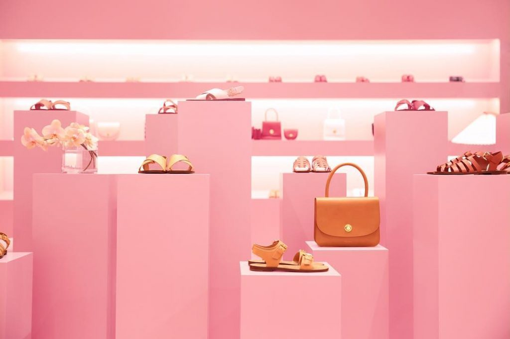 Millennial Pink trending in retail design (image sourced from @mansurgavriel )
