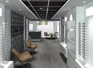 interior design and 3d render of optometry store in Dubai by Blackline Retail Interiors design studio