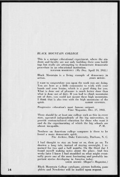 #14 Vol. II, No. 6 - 04.1944 Black Mountain College Bulletin. Courtesy of Western Regional Archives.