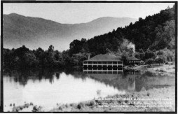 Original postcard featuring the view of the Dining Hall on the Lake Eden campus, no date. Released by Emily R. Wood. Courtesy of Western Regional Archives.