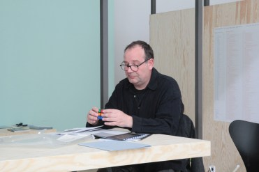 """Visit by Universität der Künste Berlin Professor Mark Lammert at """"PERFORMING the Black Mountain ARCHIVE"""" at the Black Mountain exhibition at Hamburger Bahnhof - Museum für Gegenwart - Berlin. Courtesy: Anne Steinhagen"""
