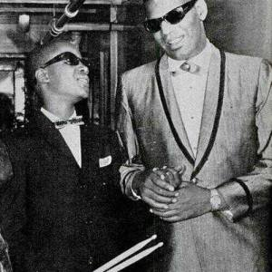 Ray Charles and a young Stevie Wonder in Detroit. 1962.