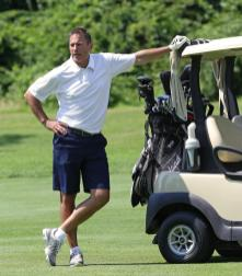 (Salem, MA - 7/17/17) Boston Bruins Head Coach Bruce Cassidy is seen during filming of Andy Brickley's NESN golf show at the Kernwood Country Club, Monday, July 17, 2017. Staff photo by Angela Rowlings.