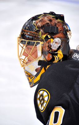 BOSTON, MA - FEBRUARY 05: Tuukka Rask #40 of the Boston Bruins wearing a new mask during warm-ups before the game against the San Jose Sharks at the TD Garden on February 5, 2011 in Boston, Massachusetts. (Photo by Steve Babineau/NHLI via Getty Images)